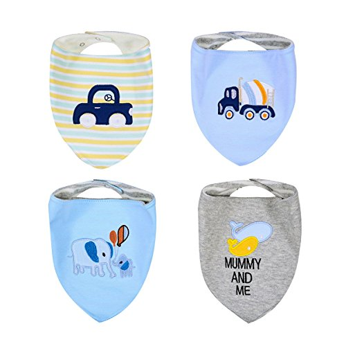 BENVAX(TM) Baby Bandana Drool Bibs for Teething and Drooling Bib, 4 Pack Gift Set, Burp Cloths for Girls and Boys, Eco Friendly, Waterproof, Washable (Boy #1)