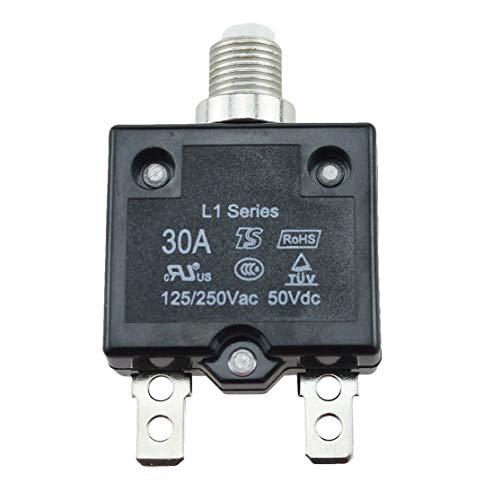 zhouweiwei 5A / 10A / 15A / 20A / 30A Leistungsschalter Wasserdichter Druckknopf Rückstellbare Thermosicherungs-Leistungsschalter-Schalttafelhalterung