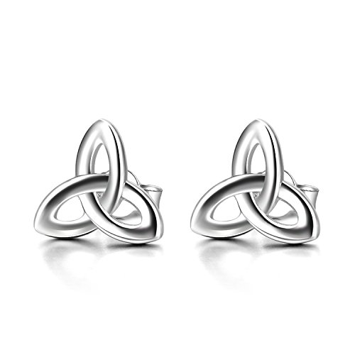 Mothers Day Gifts Celtic Stud Earrings Sterling Silver Hypoallergenic Celtics Jewelry Triquetra Knot Earrings Studs Gifts for Women Teen Girls