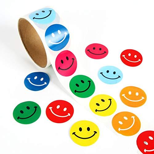 Smiley Sticker, 100 Stks Gelukkig Gezicht Ronde Papier Labels voor Kinderen Chirstmas Verjaardag Feestbenodigdheden (6 Kleuren)