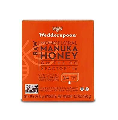 Wedderspoon Raw Organic Manuka Honey KFactor 16+, Unpasteurized, Genuine New Zealand Honey, Multi-Functional, Non-GMO Superfood