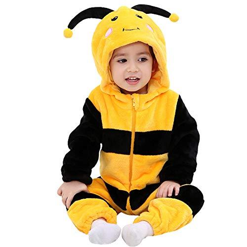 Uisex babypyjama met cartooncapuchon, flanel, voor kinderen, pyjama, hond, husky Kitty, kostuum 5-11 meses Bijen