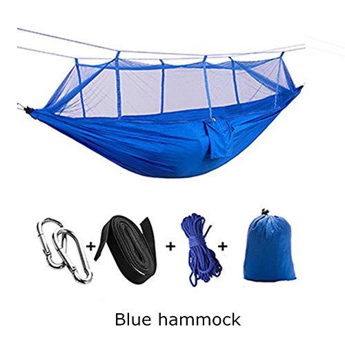 XIANL Hamac de camping avec moustiquaire, lit double de camp, hamac de voyage en plein air pour camping, randonnée, randonnée 260×140 cm Hamac bleu.