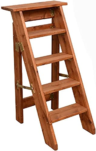 QHCS Flower Stand Plant Rack 5-Step Ladder Stool Household Solid Wood Ladder Chair Dual-use Folding Step Stool Indoor Ladder Flower Stand (Color:Coffee Color) Display Stand Home Decor