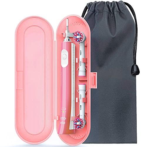 Oral B Reiseetui [ Aufgerüstet Version ], Anplus Reise Schutz hülle Etui mit Weiche Samtbeutel für Oral b Elektrische Zahnbürsten 1 Handstück und 2 Aufsteckbürsten - Rosa