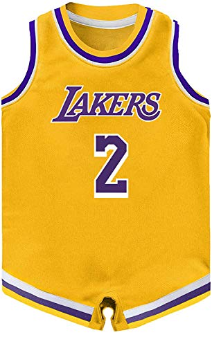 Outerstuff NBA Infants Official Name and Number Home Alternate Road Player Bodysuit Romper Jersey (18 Months, Lonzo Ball Los Angeles Lakers Yellow Icon Edition)