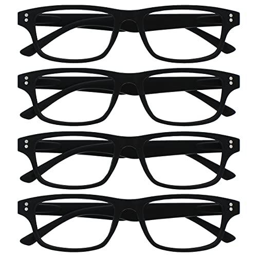 Uv Reader Negro Mate Gafas De Lectura Valor Pack 4 Hombres Mujeres Uvr4Pk033Blk +2,50 4 Unidades 88 g