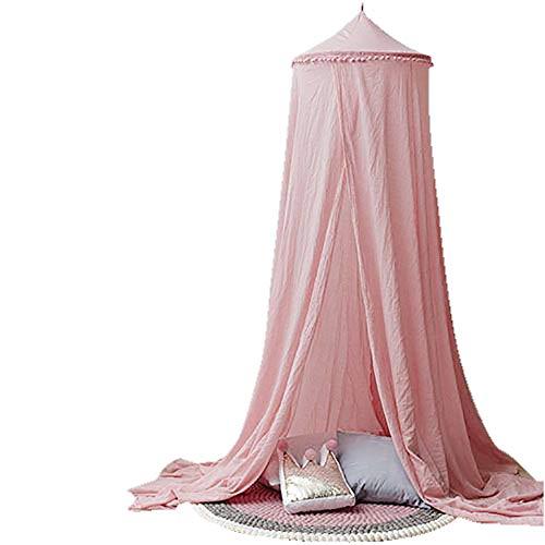Topelec Ciel de lit pour enfant en forme de dôme rond gris Décoration de chambre d'enfant Moustiquaire de lit Auvent Tente de jeu pour bébé Hauteur 240 cm