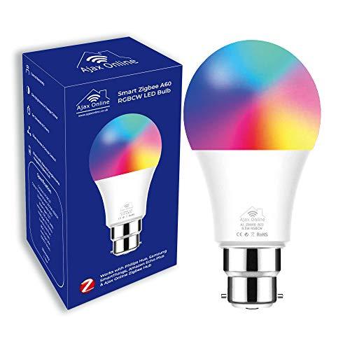 Ajax Online Smart Zigbee A60 LED RGBCW Focos – Funciona con Philips Hue* SmartThings, Alexa y Google Home (requiere un paquete) Elige hasta 16 millones (bayoneta B22)