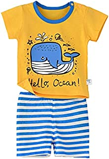 Hello Ocean Whale Printed Tee with Shorts Set - Yellow