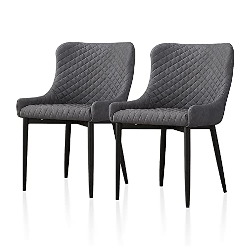 TUKAILAi 2PCS Leisure Grey Faux Leather Dining Chair Upholstery Armchair Tub Chairs with Comfortable Padded Seat Dining Living Room Lounge Reception Restaurant Furniture Modern