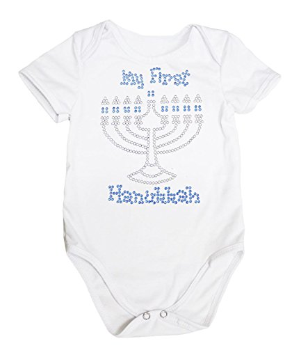 Petitebella Jewish Dress Rhinestone My 1st Hanukkah Girl Cotton Jumpsuit Bodysuit 0-18m (0-3month, White)