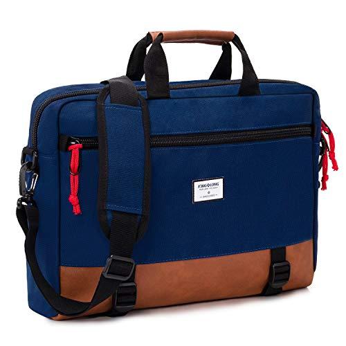 KINGSLONG 15 15.6 Inch Convertible Backpack Laptop Shoulder Bag Messenger Bag Case Business Briefcase Leisure Multi-Functional Travel Handbag for Men Women, Blue