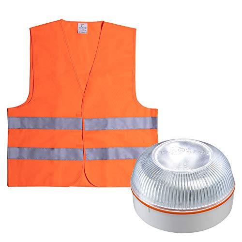 HELP FLASH PK2701 luz Emergencia AUTÓNOMA, señal preseñalización Peligro+Linterna, normativa DGT, V16, Base imantada, activación AUTOMÁTICA, y de Regalo, Chaleco Reflectante HOMOLOGADO