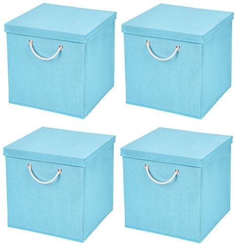 StickandShine 4er Set Hellblau Faltbox 30 x 30 x 30 cm Aufbewahrungsbox faltbar mit Kordel und mit Deckel