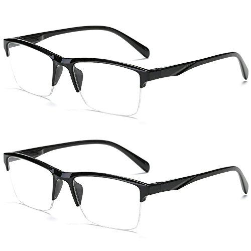 VEVESMUNDO Lesebrille Herren Damen Modern Halbrahmen Lesehilfe Sehhilfen Halbrand Schwarz Brillen 0 0,25 0,5 0,75 1,0 1,25 1,5 1,75 2,0 2,25 2,5 2,75 3,0 3,25 3,5 3,75 4,0 (2 Stück Lesebrillen, 2.0)