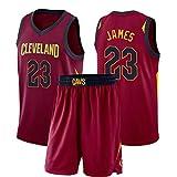 Camiseta de Baloncesto Lebron James 23# Cleveland Cavaliers para Hombre, Camiseta de Baloncesto de Malla Bordada sin Mangas para Adultos, Unisex, Adulto Tops + Pantalones Cortos 1 Juego (S-2XL)-L