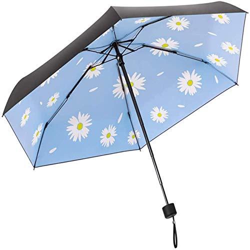 LIYONG Mini paraguas de viaje para lluvia, plegable, compacto, ligero, portátil, con protección UV del 99%, para hombres, mujeres y niños (tamaño: 17 cm x 6 K, color: azul) HLSJ