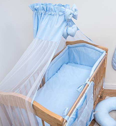 10 pièces Parure de berceau avec ensemble de rembourré Bumper pour lit de 140 x 70 cm – Bleu uni