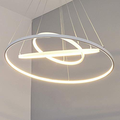 Eurekaled - Lampadario a sospensione LED moderno 3 anelli B40, luce calda