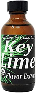 Organic Flavor Extract Key Lime   Use in Gourmet Snacks, Candy, Beverages, Baking, Ice Cream, Frosting, Syrup and More   GMO-Free, Vegan, Gluten-Free, 2 oz