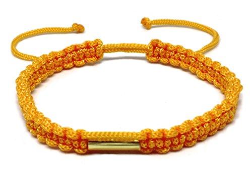 Hecho a mano budista tailandés pulsera latón amuleto bendición Karma buena suerte amor Amistad Pulsera de la yoga Meditación Mindfulness (naranja)