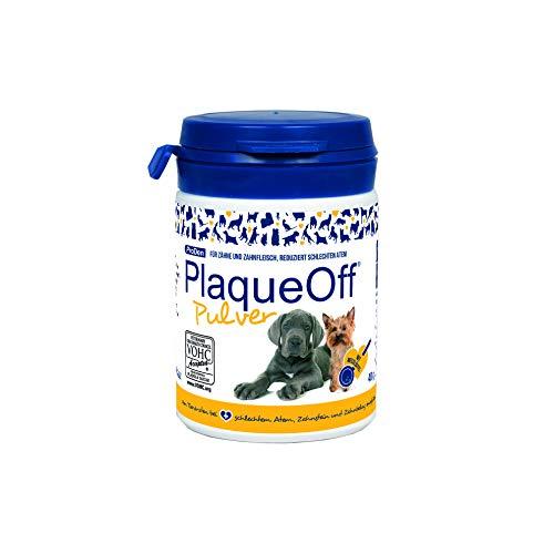 ProDen PlaqueOff Pulver |All Natural Dog Zahnpflege 40g |Atemerfrischer für Hunde Plaqueentferner für Hunde |Bekämpft natürlich Mundgeruch, Plaque und Zahnsteinbildung bei Hunden Mit Essen bestreuen