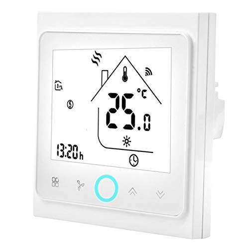 Ufolet Termostato Inteligente, termostatos programables programables para el hogar Termostato con Pantalla táctil, termostato inalámbrico Pantalla táctil LCD para Aire(2 Control)