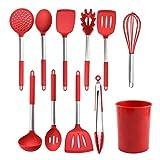 Xingyue - Set di utensili da cucina, in silicone resistente al calore, con manico in acciaio INOX