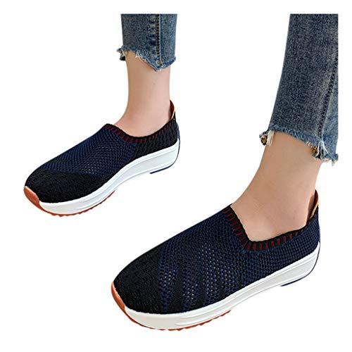 BIBOKAOKE - Zapatillas de malla casuales para mujer, con correa, zapatos informales, zapatillas de deporte, suela suave, tacón plano