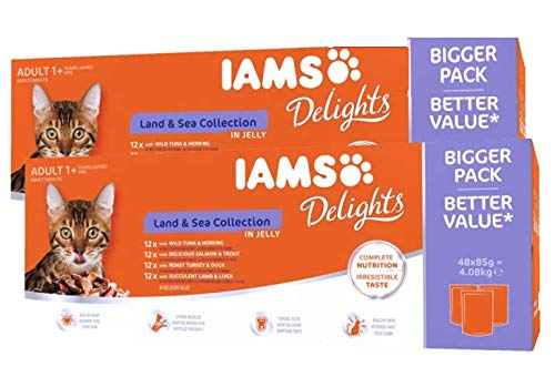 IAMS Delights Nassfutter für Katzen – Land & Sea Collection in Jelly (Mega-Pack: 96 x 85 g)