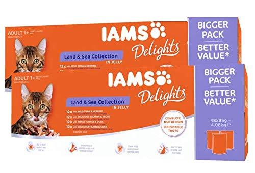 IAMS Delights Nassfutter für Katzen – Land & Sea Collection in Jelly (Mega-Pack: 96 x 85 g)