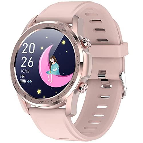 Reloj inteligente reloj de oximetría de ritmo cardíaco Reloj de rastreador de fitness impermeable con pantalla táctil completa compatible con equipo portátil rosa