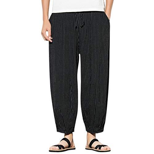 Momoxi Uomo Uomo Tenuta Pantaloni, Abbigliamento casuale fare jogging pantaloni, i pantaloni di sport, pantaloni di lino 5XL Anero