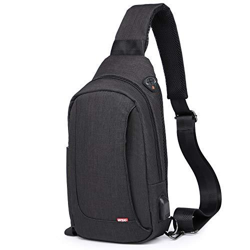 HYZUO Sling Bag Shoulder Backpack Travel Hiking Chest Bag Daypack, Black