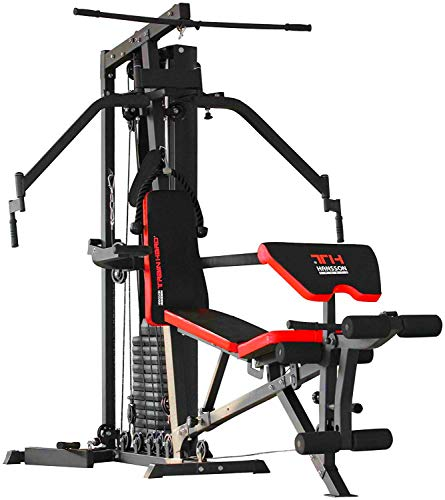 TrainHard® Multifunktion Kraftstation Multistation Home Gym aus Hantelbank Seilzugstation Curlpult Butterfly und Beintrainer mit 85 kg Gewichten