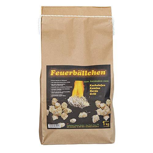 RaiffeisenWaren 4321900 Kaminanzünder, Feueranzünder, Feuerbällchen (Anzünder ökologisch, aus Naturprodukten - Wachs, Naturholz; Brenndauer ca. 10 min) 1 kg