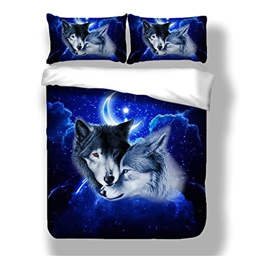 Juego de funda de edredón 3D con estampado de animales de lobo juego de cama individual doble cama de matrimonio tamaño completo para niños