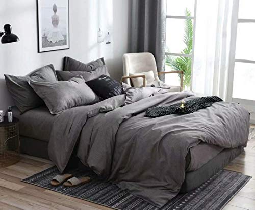 Jameswish 3pcs Charcoal Grey Duvet Cover Set King Size Modern Chambray Gray Reversible Solid Colored Bedding Sets Soft Microfiber Taupe Gray Farmhouse Comforter Quilt Covers for Men Women