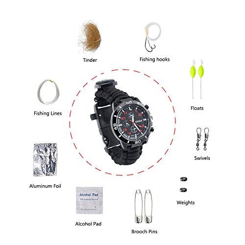 16 in 1 Sport Überleben Armband, Draussen 7 Kern Paracord Bergsteigen Wasserdicht Uhr Notfall Wristband Erste Hilfe Tools mit Kompass, Rettungspfeife, Wärmemesser, Feuer Starter, Angelset Zubehör