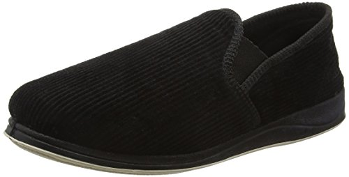 Albert - Zapatillas de estar por casa para hombre, color negro, talla 10 UK
