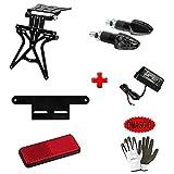 Compatible con Cagiva Elefant 650 Kit Placa Licencia Motocicletas + 2 Flechas LED+ LUZ Licencia + CATARIF. + SUPP CATARIF.