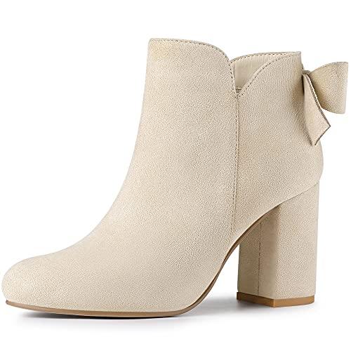 Allegra K Women's Round Toe Bow Decor Chunky Heel Beige Ankle Boots 7.5 M US