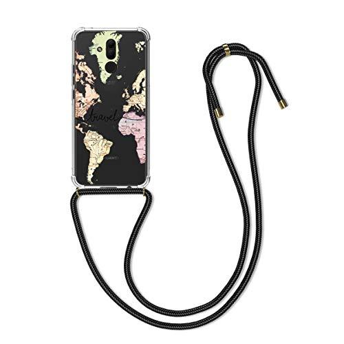 kwmobile Hülle kompatibel mit Huawei Mate 20 Lite - mit Kordel zum Umhängen - Silikon Handy Schutzhülle Travel Schriftzug Schwarz Mehrfarbig Transparent