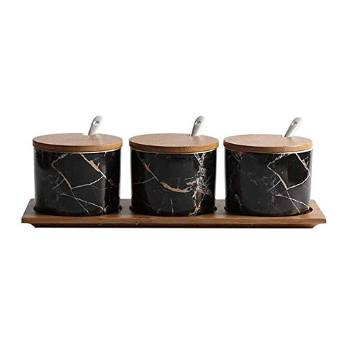 YLLAND Conjunto de Cajas de condimento de 3 tarros de Especias de Tema de mármol Negro, macetas de condimento sirviendo cucharas, Frasco de Especias de Bandeja LNNDE
