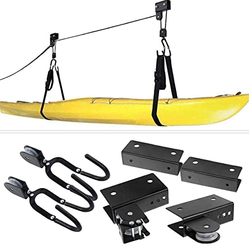 gongxi Elevador De Techo para Kayak, Elevador De Garaje para Kayak Y Canoa con Cuerda Resistente, Sistema De Polea Colgante con Ganchos para Bote De Remos.