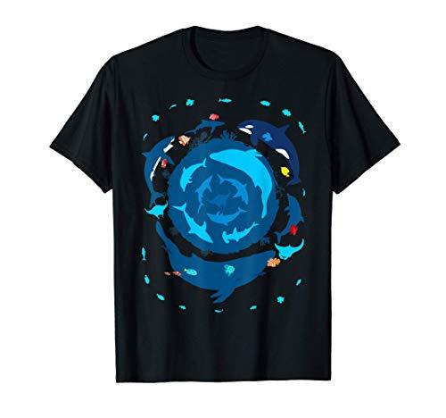 Océano círculo de verano ballena azul, gran tiburón blanco Camiseta