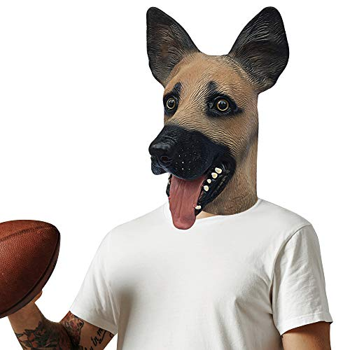 German Shepherd Dog Latex Full Head Mask for Halloween Costume Party Cosplay Animal Mask Brown, German Dog, Unversal