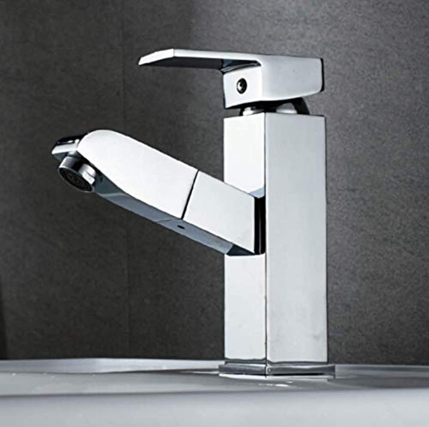 Sink Faucet Brass Chrome Pull Faucet Hot and Cold Bathroom Lavatory Single Cold Telescopic Washbasin Faucet