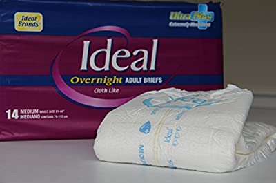 Ideal - Adult Overnight Disposable Brief Breathable Diaper Clothlike Feel with Wetness Indicator & Strong Refastenable Fit Tabs